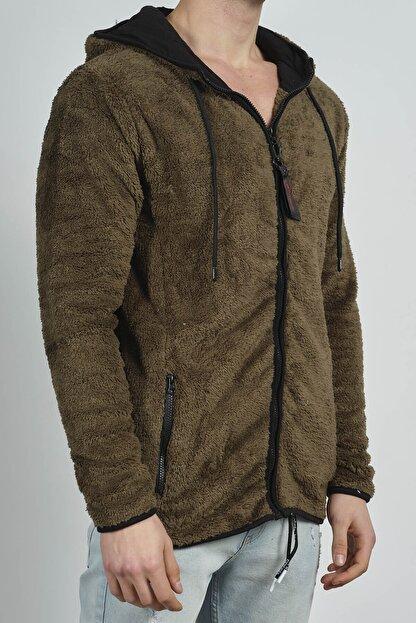XHAN Erkek Haki Fermuarlı Kapüşonlu Peluş Sweatshirt