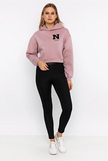 NOBLESSENCES Kadın Pudra Crop Sweatshirt