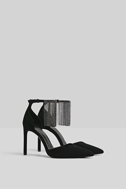 Bershka Kadın Siyah Parlak Taşlı Ince Topuklu Ayakkabı