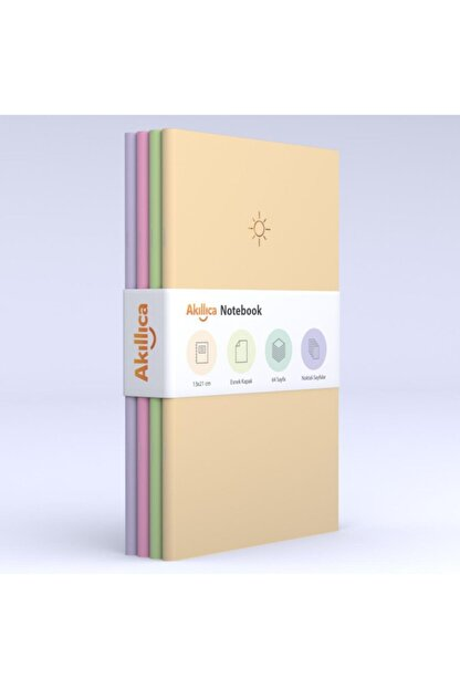 AKILLICA Notebook 4'lü Defter Set Noktalı Soft Pastel Notebook 13,5x21 Cm