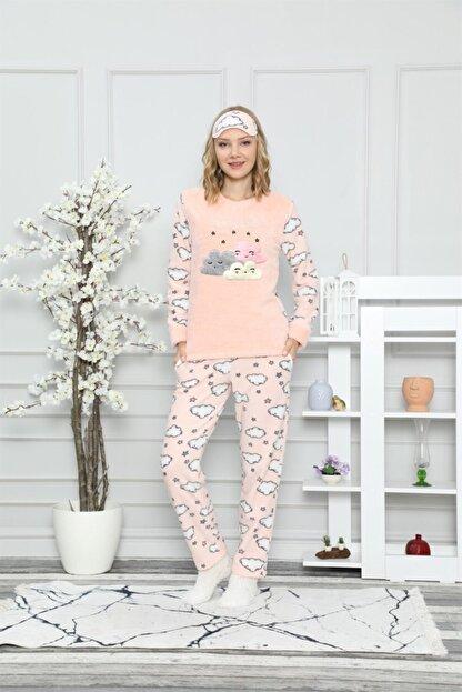 ARCAN Kadın Somon Bulut ve Yıldız Nakışlı Pijama Takımı 1128-37