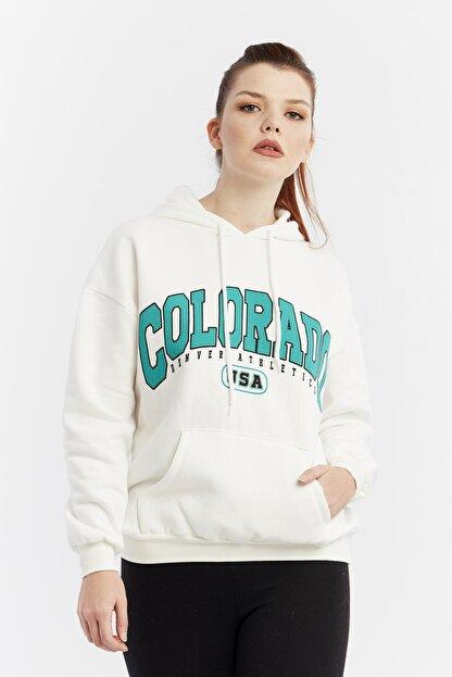 citycenterfashion Kadın Ekru Yazılı Kapüşonlu Sweatshirt Cty-abr-8253
