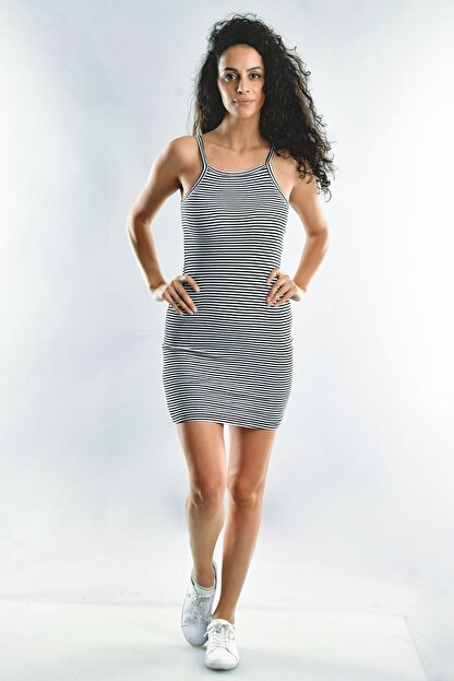 Cotton Mood Kadın Siyah Beyaz İp Askılı Elbise