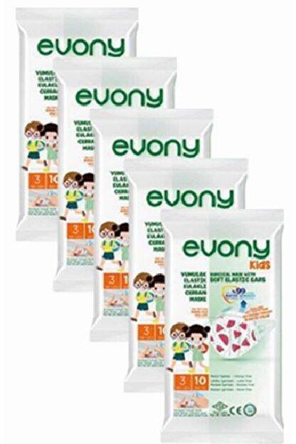 Evony Kids Yumuşak Elastik Kulaklı Renkli Çocuk Maskesi 10'Lu X 5 Adet