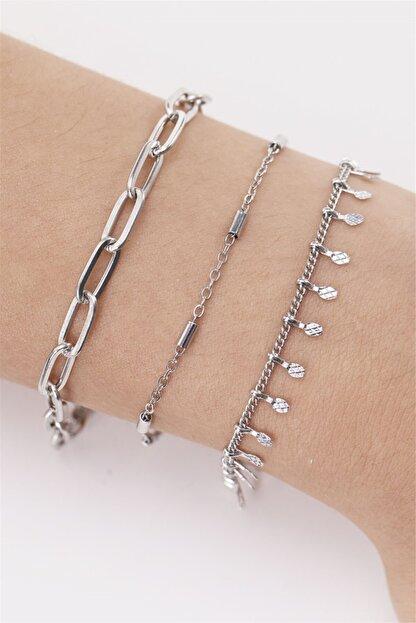 Sortie Aksesuar Kadın Gümüş 3lü Kombin Bileklik 040
