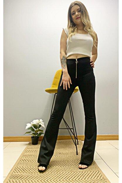 BENDEE BUTİK Kadın Siyah Önü Bağcıklı Ispanyol Pantolon