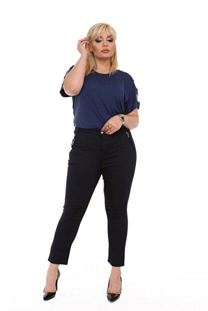 Rmg Kadın Lacivert Kanvas Yüksek Bel Dar Paça Pantolon Rg1390yp