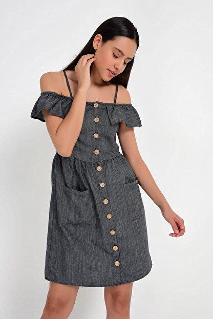 Cotton Mood 9201581 Bodrum Madonna Yaka Askılı Elbise