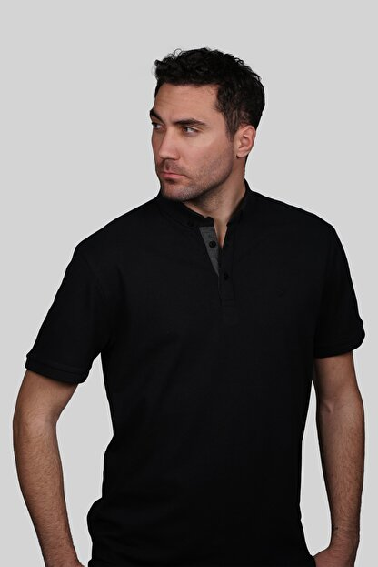 İgs Erkek Siyah Slim Fit Polo Yaka T-shirt