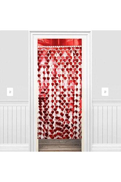 Süsle Baby Party Metalize Kalpli Kapı ve Fon Perdesi, 1 x 1,8 mt - Kırmızı