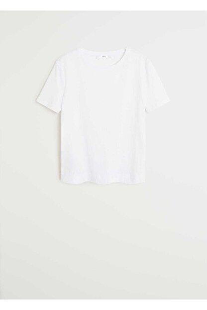 Mango Kadın Beyaz Gündelik Koton Tişört 67094383