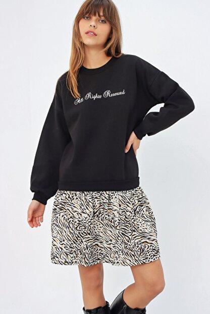 Ecrou Kadın Siyah Altı Fırfırlı Penye Sweat Elbise