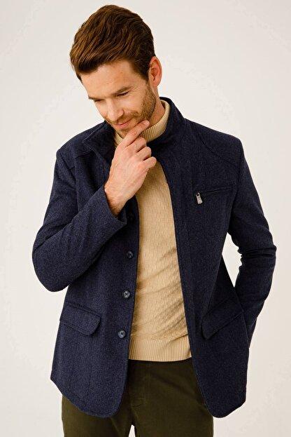 İgs Erkek Mavi Modern Fit Palto