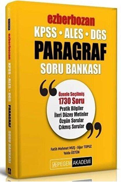 Pegem Akademi Yayıncılık Pegem Yayınları 2020 Kpss Ales Dgs Ezberbozan Paragraf Soru Bankası