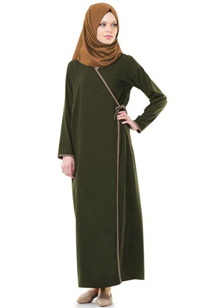 Esil Tesettür Kadın Haki Yandan Bağlamalı Namaz Elbisesi