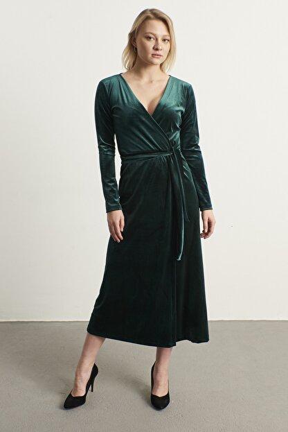 ELBİSENN Kadın Yeşil Kruvaze Yaka Kadife Elbise