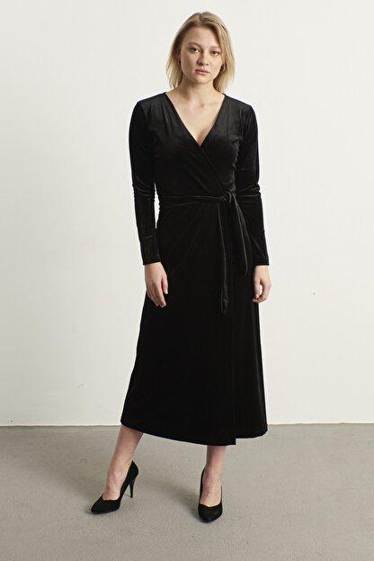 ELBİSENN Kadın Siyah Kruvaze Yaka Kadife Elbise