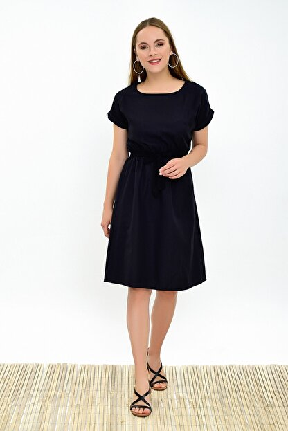 Cotton Mood Kadın Siyah Dokuma Viskon Beli Lastikli Yarasa Kol Elbise 9303031