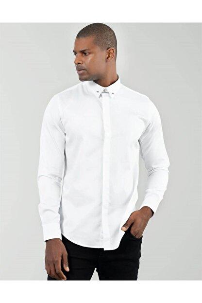 Tudors Erkek Beyaz Slim Fit Yaka İğneli Gömlek