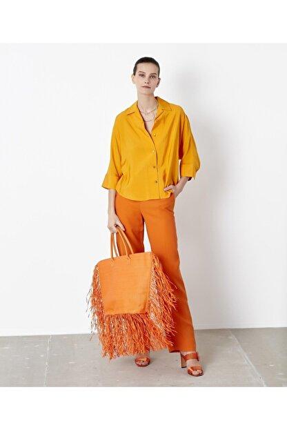 İpekyol Kadın Sarı Kuşaklı Over Size Gömlek