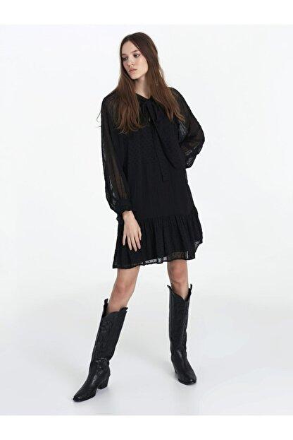 Twist Kadın Siyah Fırfır Şeritli Elbise