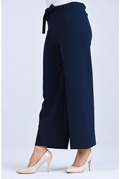 Moda Bu Kadın Lacivert Bel Lastikli Bağlamalı Bol Paça Pantolon