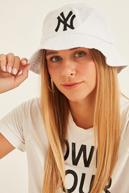 Y-London 13373 Ny Nakışlı Beyaz Bucket Şapka