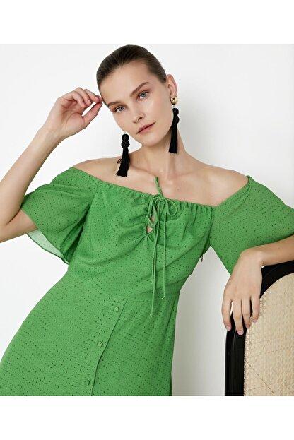 İpekyol Kadın Yeşil Puantiye Desen Elbise IS1200002421070