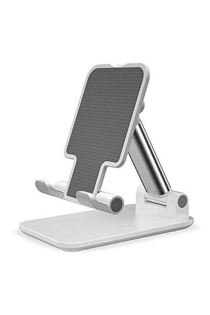 Coverzone Masaüstü Tablet Ve Telefon Tutucu Katlanabilir Masaüstü Stand Beyaz
