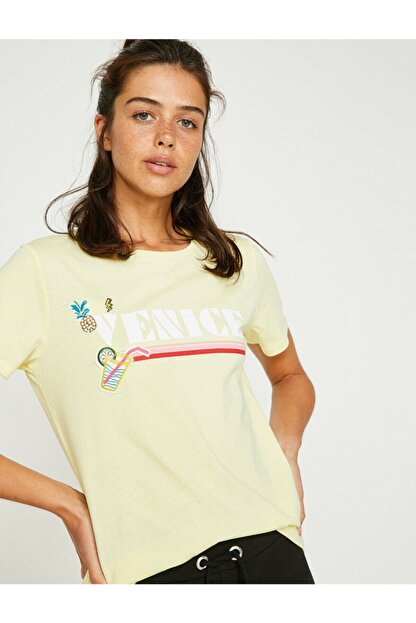 Koton Kadın Sarı Yazı Baskılı Kısa Kollu Bisiklet Yaka T-Shirt 8YAL11762JK