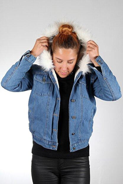 Stilim Butik Kadın Mavi Içi Kürklü Kot Mont