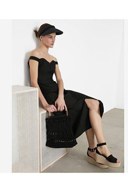 İpekyol Kadın Siyah Geniş Yaka Elbise IS1200002372001