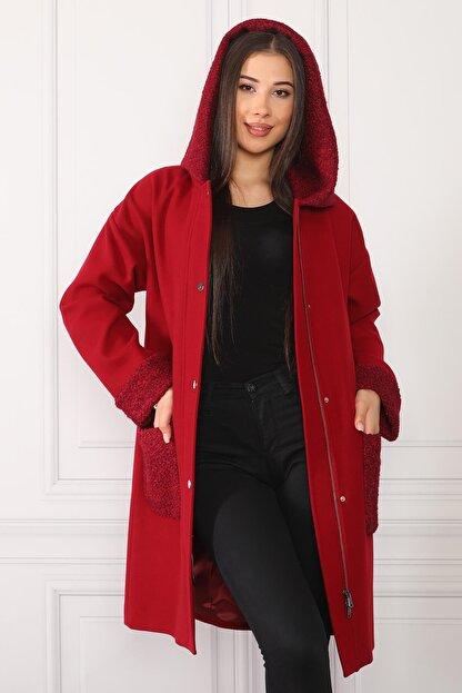 nobisis Kadın Kırmızı Çıtçıt Fermuarlı Kapüşonlu Kaban