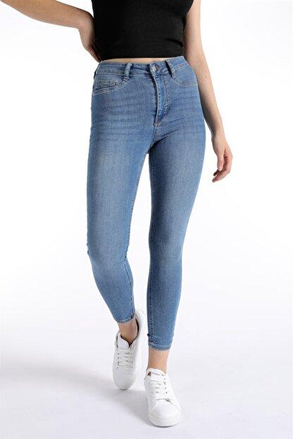 Oblavion Kadın Mavi Dar Paça Pantolon