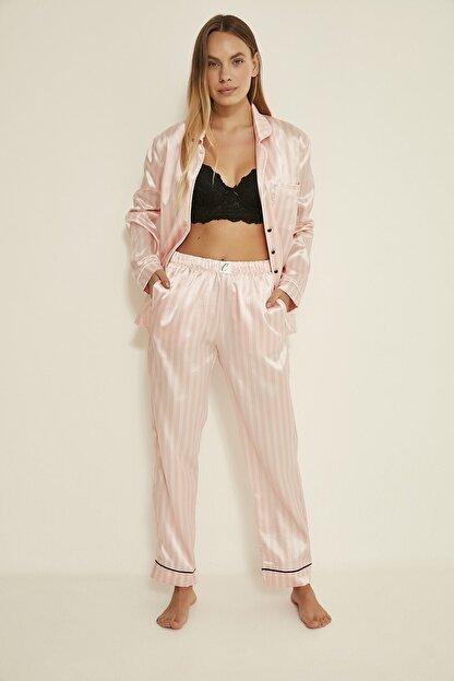 C&City Ruby Bristol Kadın Saten Pijama Alt Pembe/ekru