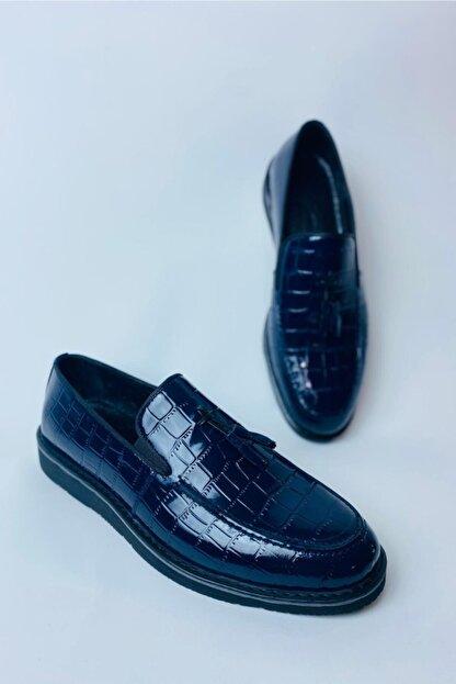 LA PANTE Erkek Lacivert Hakiki Deri Rugan Casual Ayakkabı