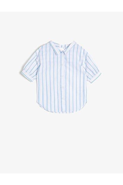 Koton Kız Çocuk Mavi Çizgili Poplin Kumaş Sırt Detaylı Bol Kesim Kısa Kollu Gömlek