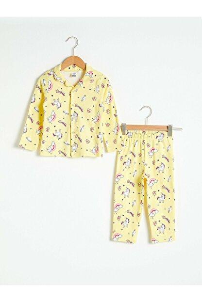 LC Waikiki Kız Bebek Sarı Baskılı Pijama Takımı