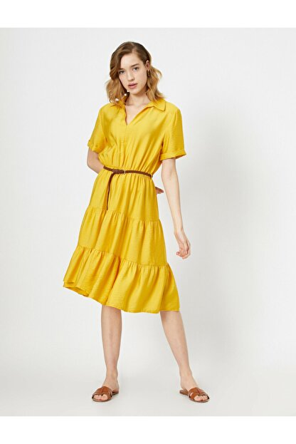 Koton Kadın Sarı Kemer Detayli V Yaka Kisa Kollu Midi Elbise