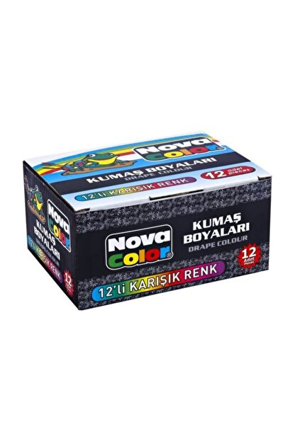 nova color Kumaş Boyası 12 Renk x 30 ml. Set