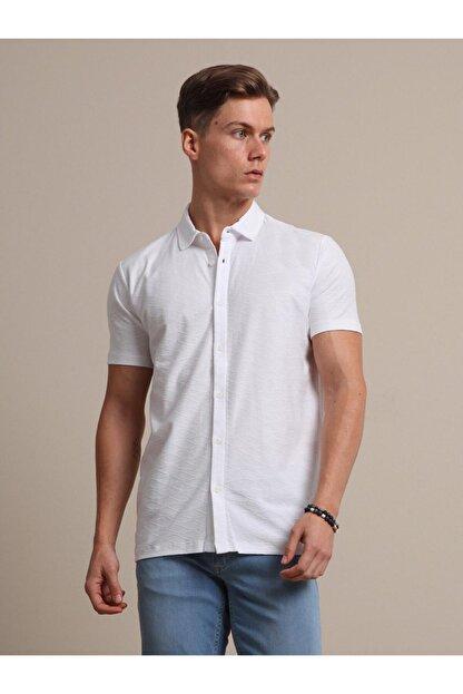 Kip Erkek Beyaz Jakarlı Örme T - Shirt