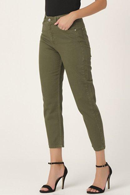 its basic Kadın Yüksek Bel Haki Renk Mom Jean