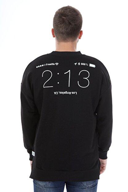 Millionaire Erkek Siyah Yırtmaçlı Telefon Arkası Baskılı Oversize Sweatshirt
