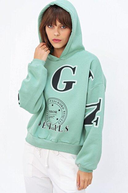 Ecrou Kadın Mint Login Kapşonlu Oversize Sweatshirt