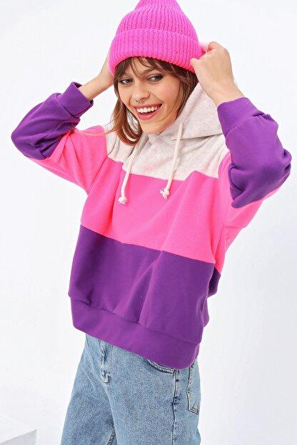 Ecrou Kadın 3 Renkli Yumoş Polar Sweatshirt