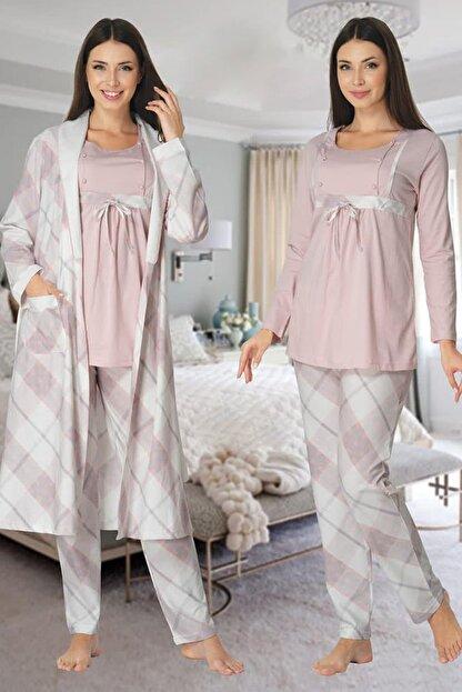 Effort Pijama Kadın Pembe Uzun Kollu Hamile Lohusa Sabahlıklı Pijama Takımı 8084