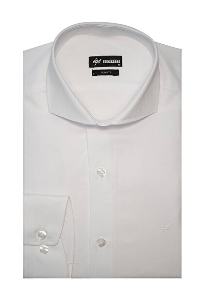 İgs Erkek Beyaz Slim Fit İtalyan Yaka Gömlek