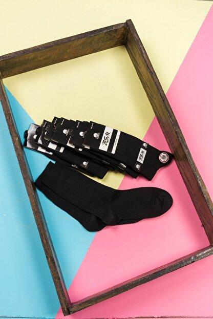BSM Erkek Siyah Pamuklu Dikişsiz 4 Mevsim Düz Çorap 6 Lı