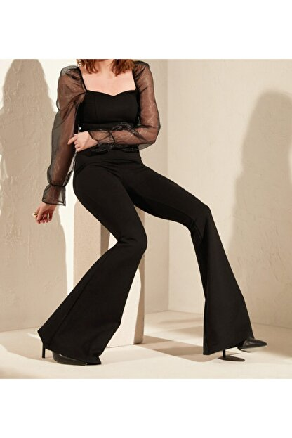 Prenses Tayt Kadın Siyah Çelik Interlok Yüksek Bel Ispanyol Paça Tayt Pantolon 402