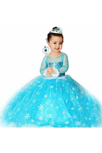 DUHATEKS Kız Çocuk Elbisesi Tarlatanlı Elsa Kostümü